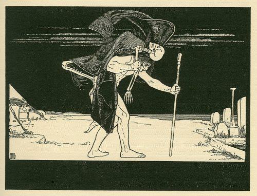 Mężczyzna niosący na barkach dybuka, ilustracja Mojżesza Liliena