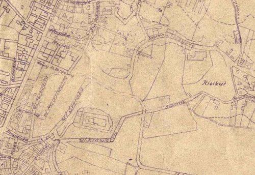 Fragment planu Lublina z 1947 roku wykonanego przez Biuro Pomiarowe Zarządu Miejskiego. Źródło: Archiwum Państwowe w Lublinie