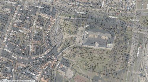 Fragment planu Lublina z 1928 roku nałożony na ortofotomapę. Źródło: http://geoportal2.lublin.eu