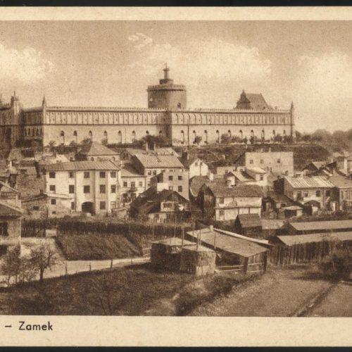 Widok na Zamek od strony kościoła oo. dominikanów. Pocztówka ze zbiorów Zbigniewa Lemiecha