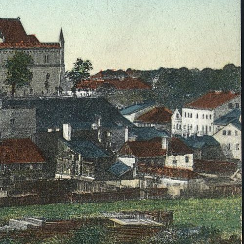 Fragment pocztówki z widoczną nieruchomością pod adresem Krawiecka 41