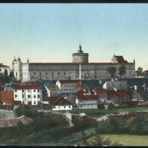 Podzamcze - widok z placu po Farze. Pocztówka ze zbiorów Zbigniewa Lemiecha