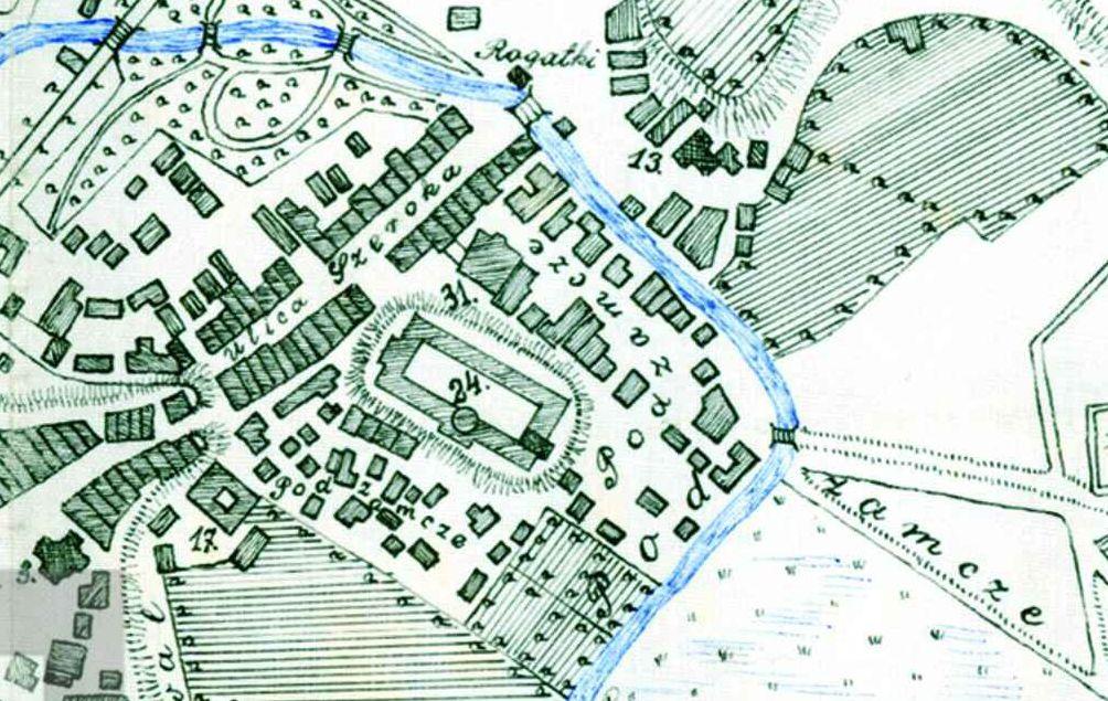 Fragment planu Lublina z 1829 roku wykonany przez K. F. Kozłowski będący odrysem z planu litografowanego w 1829 roku. Źródło: Archiwum Państwowe w Lublinie