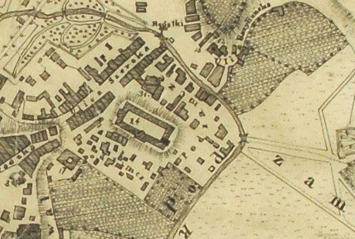 Fragment planu Lublina wykonanego z planu Feliksa Bieczyńskiego w odrysie J. Starowolskiego z 1829 roku. Źródło: Archiwum Państwowe w Lublinie