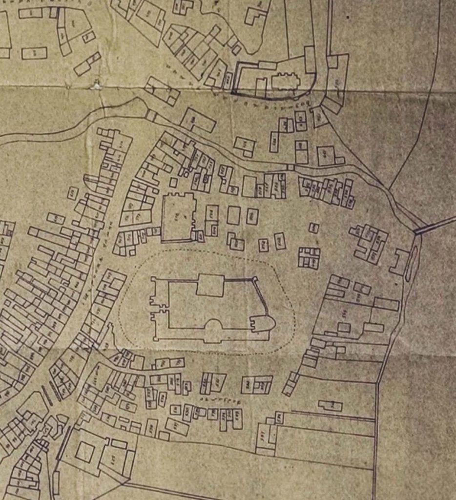 Fragment planu Lublina opracowanego w 1859 roku przez Ryszarda Jarugę. Plan jest kopią planu Konstantego Pelletiera wykonanego ok. 1847 r., który powstał jako kopia planu Wawrzyńca Ziółkowskiego z 1827 r. Źródło: Archiwum Państwowe w Lublinie