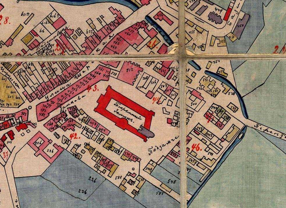 Fragment planu Lublina z 1876 roku. Źródło: Archiwum Państwowe w Lublinie