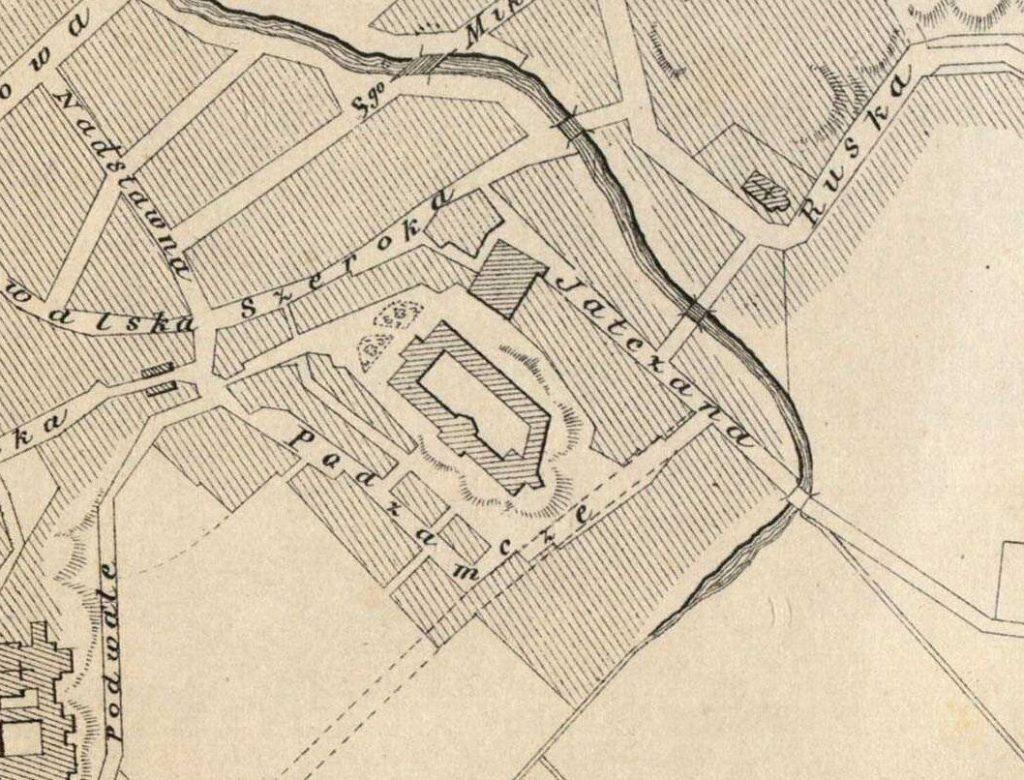 Fragment planu Lublina z 1878 roku opracowany przez Anastazego Suligowskiego, sporządzony według planu regulacyjnego z 1874 r. i uzupełniony w 1878 r. Źródło: Archiwum Państwowe w Lublinie