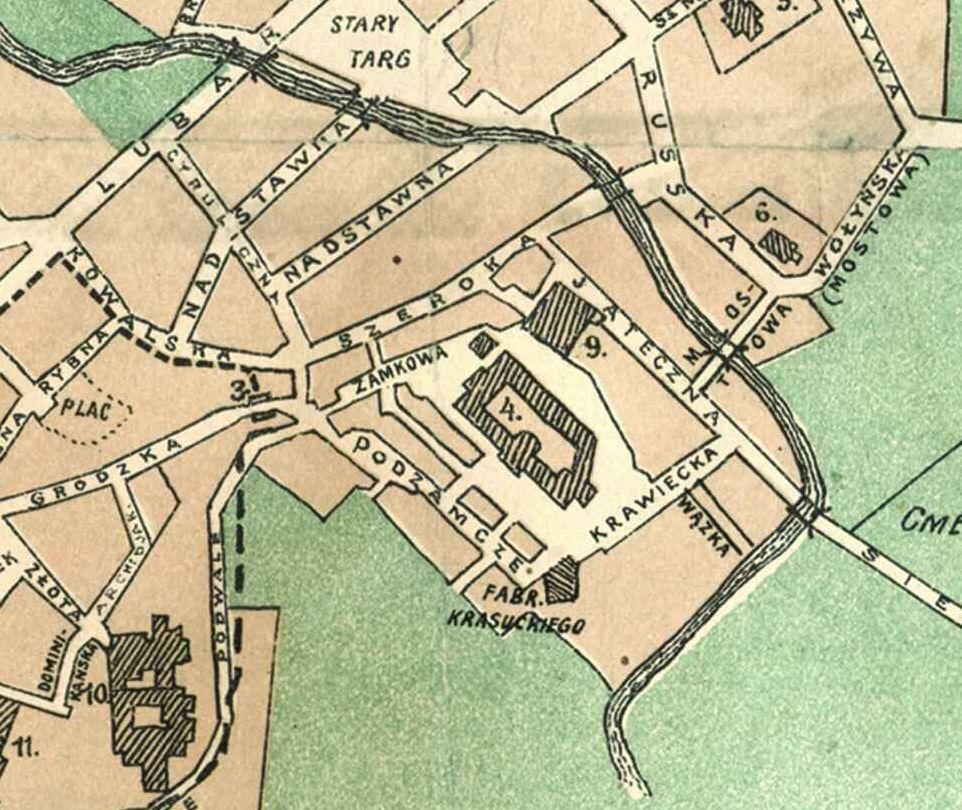 Fragment planu Lublina z 1912 roku wykonanego przez Witolda Cholewińskiego. Źródło: Archiwum Państwowe w Lublinie
