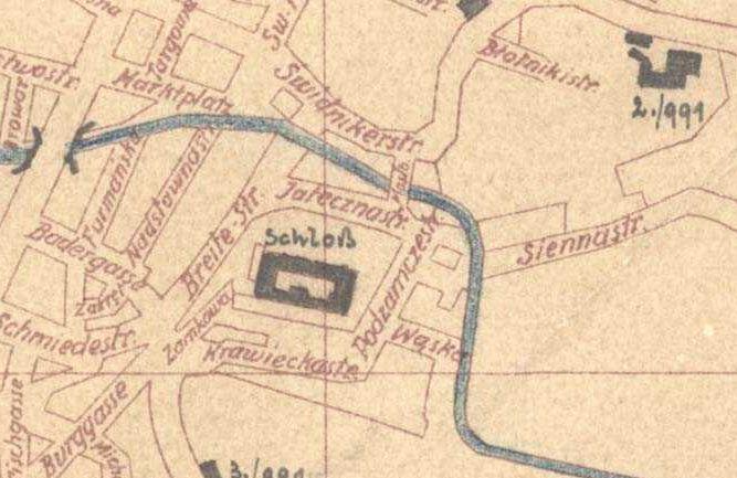 Fragment planu Lublina z 1940 roku. Źródło: Archiwum Państwowe w Lublinie