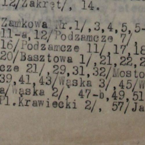 """Fragment dokumentu """"Wykaz budynków rozebranych przez Władze Niemieckie, względnie będących w stanie rozbiórki, sprawdzony w terenie w dniu 9 marca 1943 roku przez pp. Głębikowskiego i Koszałkę"""". Źródło: Archiwum Państwowe w Lublinie"""