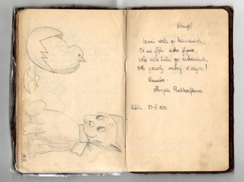 Wpis Marii Rechtszaft w pamiętniku Danuty Riabinin (z domu Podobińskiej)