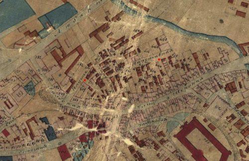 Nadstawnaja w dwóch miejscach (zaznaczona czerwonymi kropkami) na planie miasta z 1870 roku, materiał pochodzi z Lubelskiego Archiwum Cyfrowego (lac.lublin.pl)