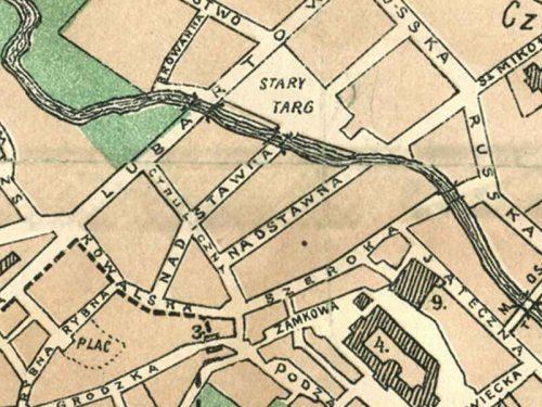 I dwie ulice Nadstawne na planie Cholewińskiego z 1912 roku, materiał pochodzi z Lubelskiego Archiwum Cyfrowego (lac.lublin.pl)