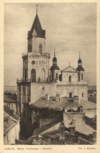 Lublin. Wieża Trynitarska i Katedra , fot. Jan Bułhak