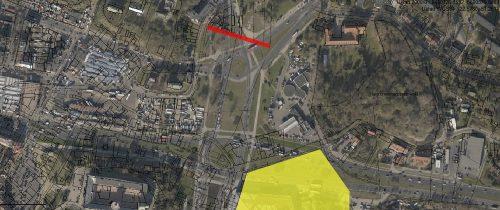 Kolor czerwony – Błotniki; żółty – Plac Orenbroda, na bazie mapy przygotowanej przez geoportal2.lublin.eu