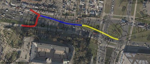 Poszczególne odcinki ulicy Jatecznej: kolor czerwony – Szulgesl; niebieski – Jatkegas; żółty – lebn kwores brikl, na bazie mapy przygotowanej przez geoportal2.lublin.eu