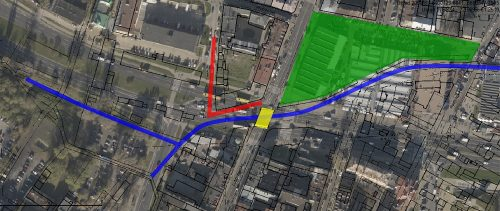 Kolor zielony – Nowy Plac Targowy; żółty – tzw. Most Żelazny; czerwony – Szochetim gesl, Browarna; kolorem niebieskim zaznaczono Czechówkę, na bazie mapy przygotowanej przez geoportal2.lublin.eu