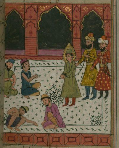 Uwięzienie Józefa, iluminacja z manuskryptu w języku perskim zawierającego opowieść o Józefie i Zulejce, jak w tradycji żydowskiej i islamskiej nazywa się żonę Potifara, Indie XVIII w., ze zbiorów The Walters Art Museum