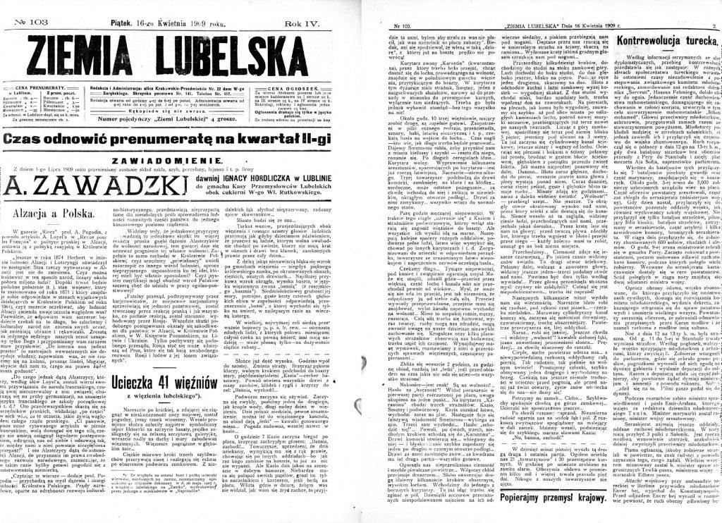 Ziemia Lubelska, 16 kwietnia 1909