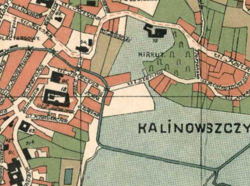 Plac przy Siennej (jasny prostokąt w środku) na mapie z 1931 roku (materiał pochodzi z Lubelskiego Archiwum Cyfrowego, lac.lublin.pl).