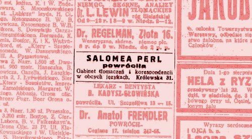 Salomea Perl powróciła